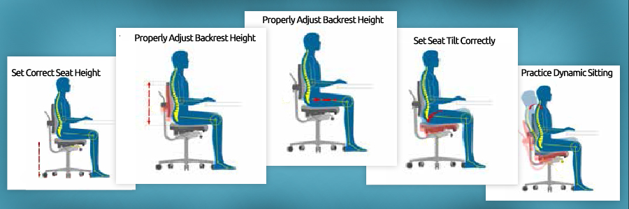 proper ergonomic seating example in medical office chairs